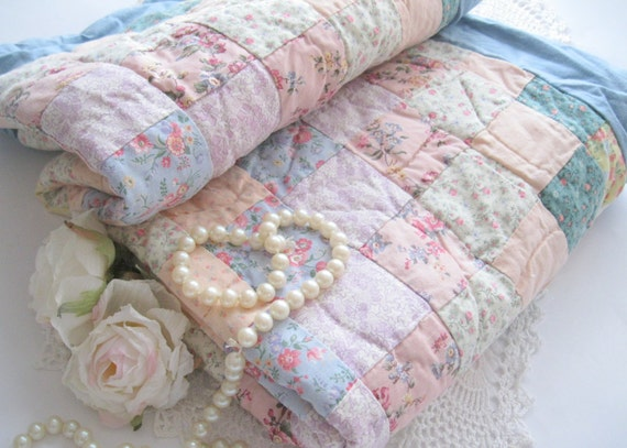 Shabby Chic Pillow Shams : Pillow Shams Shabby Chic Patchwork Quilted Set by mailordervintage
