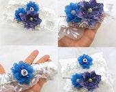 Wedding Garter, Ivory, Blue, Purple, Magenta, Fuchsia, Bridal, Toss, Garter Belt, Lace, Pearls, Crystals, Elegant Wedding, Vintage Style