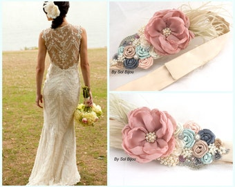 Sash, Blush, Ivory, Champagne, Nude, Pewter, Mint, Gray, Elegant Wedding, Vintage Style, Ostrich Feathers, Crystals, Pearls, Satin