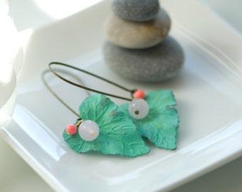 Patina leaf earrings, mint earrings, bohemian earrings