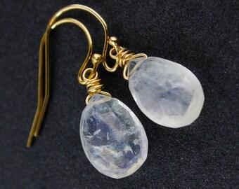 White Moonstone Earrings - Gold or Silver - June Birthstone Earrings