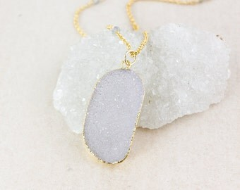 Gold Free Form Druzy Necklace - Blue Labradorite - Layering Necklace