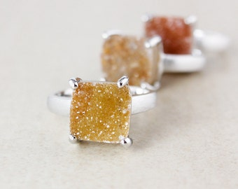 Cushion Natural Agate Druzy Rings - Choose Your Druzy - Brushed Sterling Silver