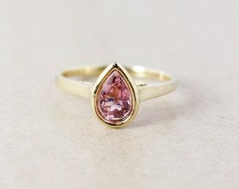Gold Light Pink Tourmaline Engagement Ring - Teardrop Cut - 10k Yellow Gold