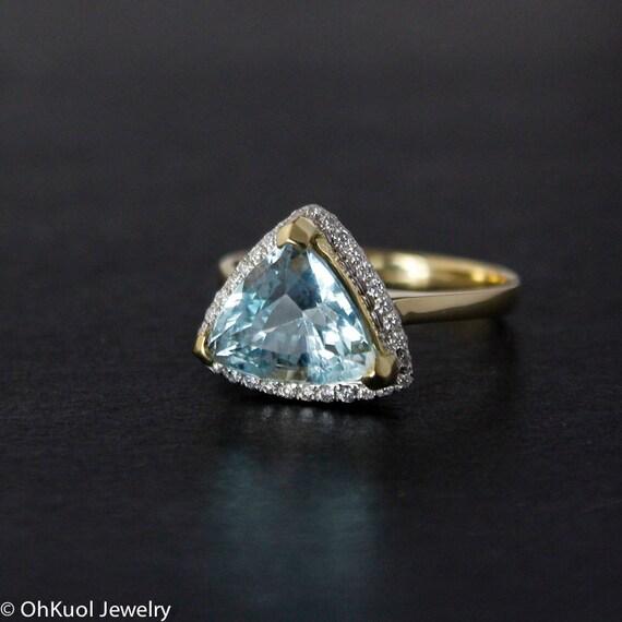 triangle blue aquamarine engagement ring pave diamonds 14k