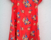 Girl's Vintage Style Dress Age 4 Red Floral