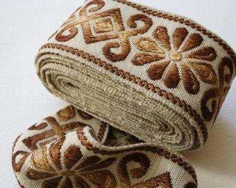 Wide Vintage Upholstery Trim Floral Geometric Brown Bronze