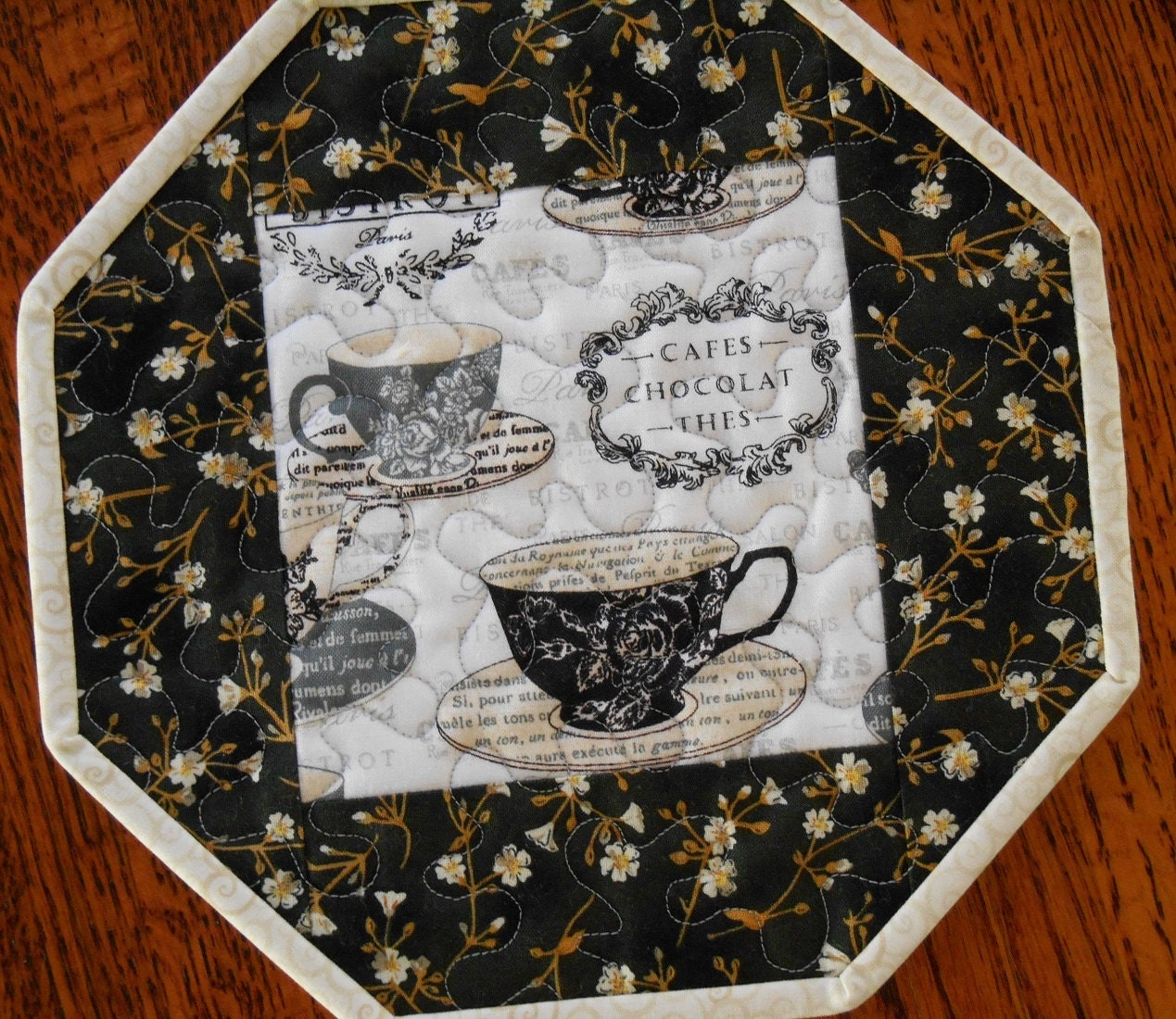 Quilted coaster mug rug with french themed coffee or by susiquilts