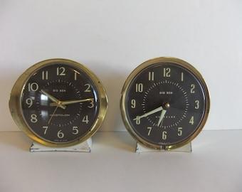 Vintage Alarm Clock Big Ben Clock Parts Clocks Pair Gold Black and Cream Old Clocks