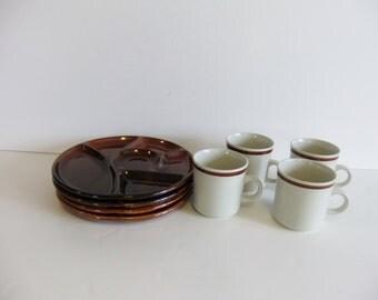 Vintage Luncheon Snack Plates, japan plates and cups, brown stoneware, lunch plates, dinner trays, party plates, cups and mugs