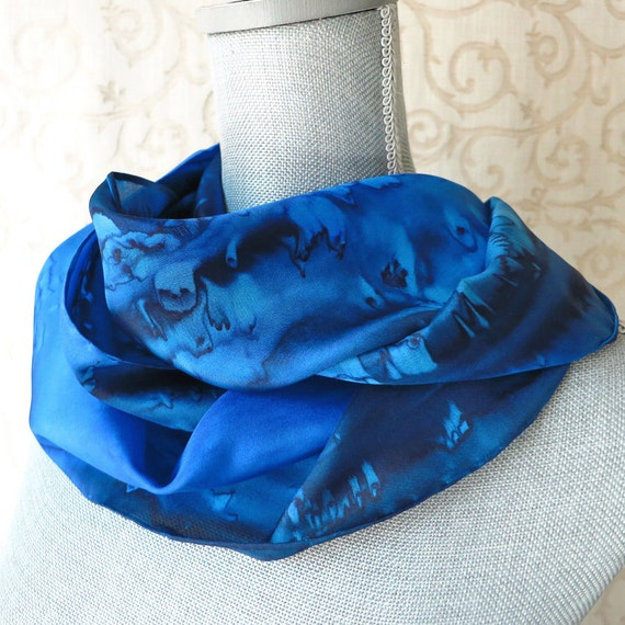 Silk Scarf Hand Painted in Navy and Cobalt Blue