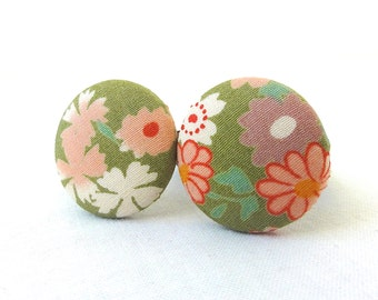 Ponytail Holder Set of 2 - Pastel Flowers Soft Olive - READY TO SHIP