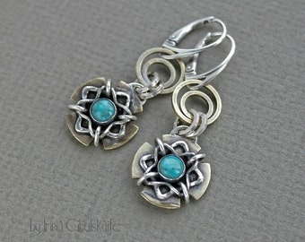 Sterling silver and brass Earrings with Turquoise