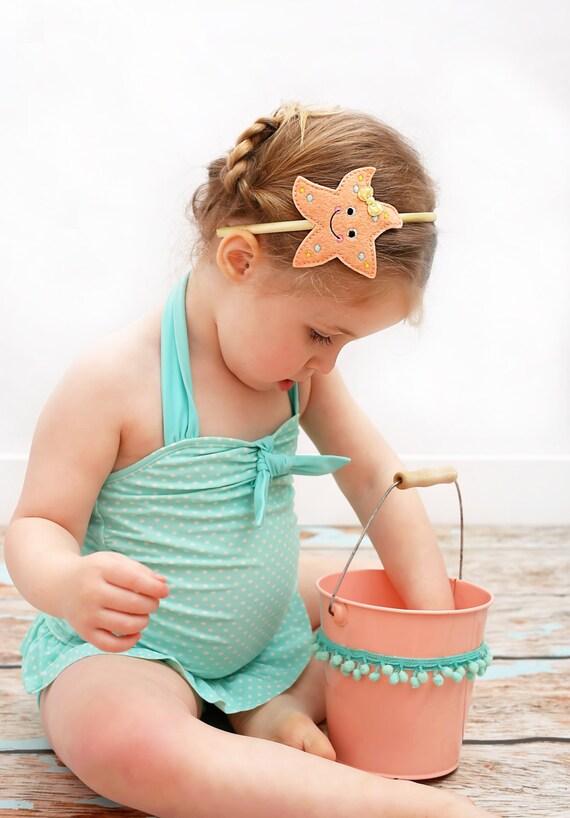 Peach Starfish Headband Girls Starfish Headband Beach