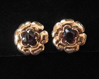 Gold Vermeil Sterling Silver Flower Earrings