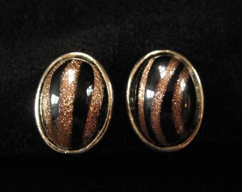 Striped Goldstone Art Glass Screw Back Earrings