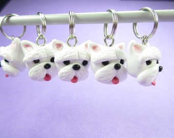 Westie Stitch Markers polymer clay dog knit charms knitting, West highland terrier dog, westie dog, westie gift, gift for knitters white