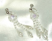 Custom made for Sue- Lilac Swarovski crystal and pearl drop earrings
