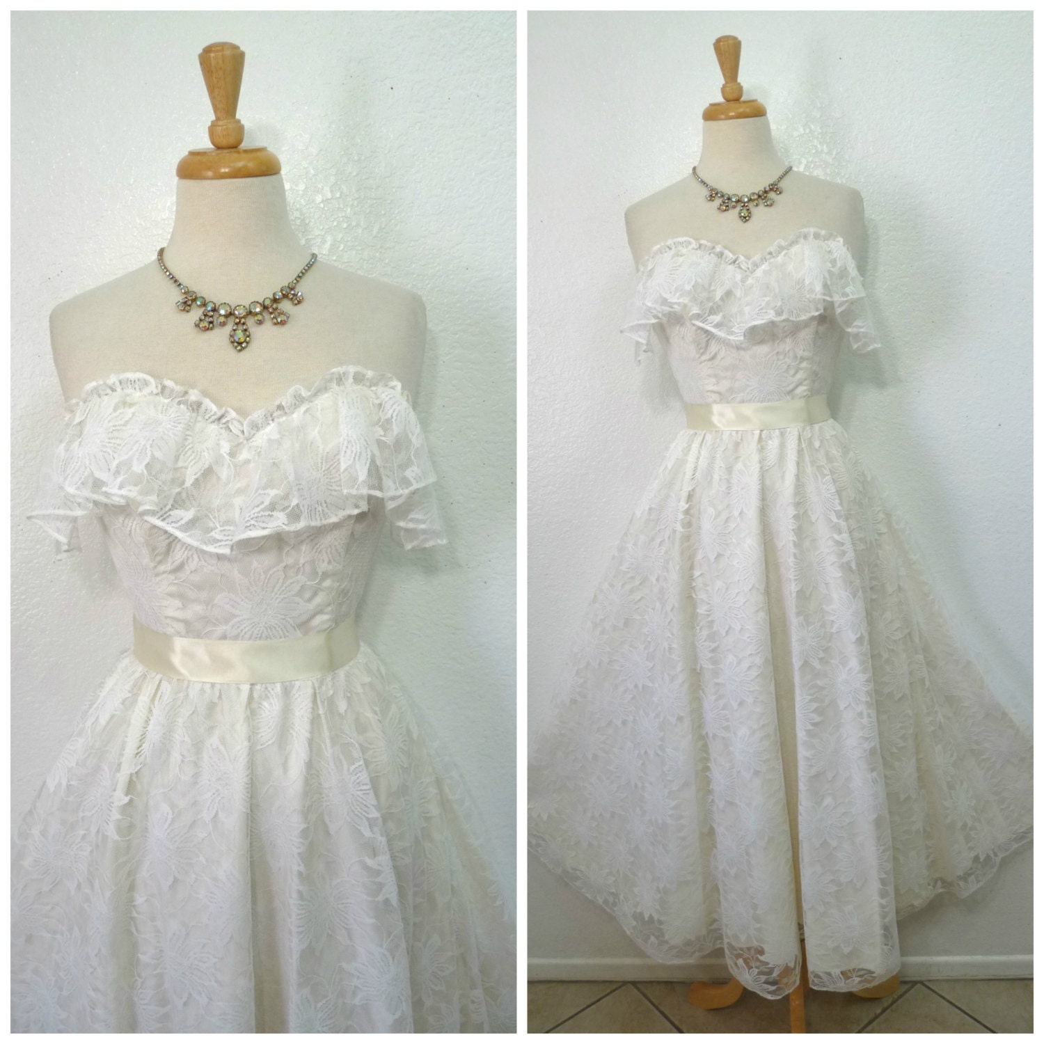Vintage 1960s Wedding dress White lace dress Sweetheart