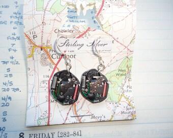 Handmade,Dr Who Cosplay Earrings,Clara Oswald,Watch Earrings,Recycled Watches Earrings,Steampunk Earrings,Steampunk Chic,Silver Earrings
