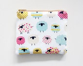 Zipper Pouch - Colorful Sheep on White - Available in Small / Large / Long