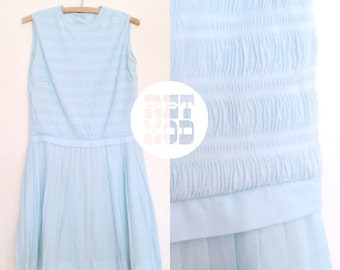 Baby Blue Pleated Ruche Shift Dress - Sleeveless - Super Kawaii Cute! Pretty Pastel Color!