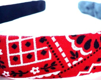 Red Bandana Headband 3/4 Inch