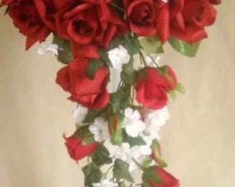 Red Roses White Silk  Wedding Cascade Bridal Bouquet 15 Pcs  Set