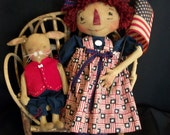 Primitive Americana doll pattern, 16 inch and 9 inch dolls, by Dumplinragamuffin
