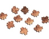 10 Vintage 1960s Mini Leaves Stampings // Copper // 50s 60s Maple Leaf Finding //  NOS Craft Jewelry Supply // Canadian