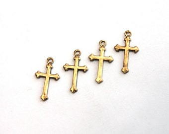 4 Vintage 1950s  Mini Antiqued Brass Cross Pendants // 50s 60s Crosses Stampings // NOS // Craft Jewelry Supply // Religious