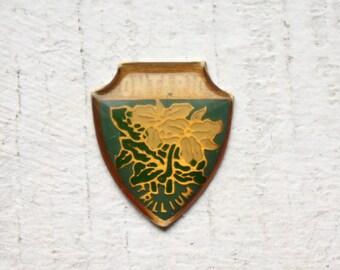 3 Vintage 1960s Enameled Brass Ontario Crest Charms // Provincial Flower // Trillium