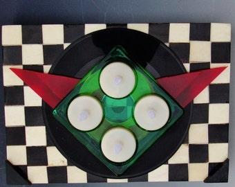 "BEATLES Record Box, Wood & Tile Lady Madonna 7"" Vinyl Quadruple Green Glass Votive/Incense Burner, Black Ivory Checks, Functional Art Lucite"