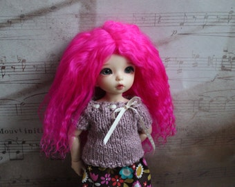 Bright Fuchsia Pink mohair wig for Littlefee / other YoSD sized / Unoa / Enyo doll