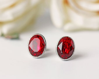 Red Siam Swarovski Titanium Stud Earrings Ruby Crystal Oval Silver Earrings