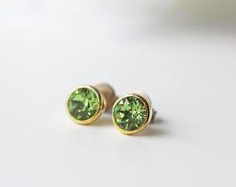 Small Peridot Green Swarovski Titanium Studs Crystal Gold Nickel Free Modern Earrings