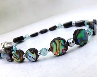 Abalone Bracelet, Sterling Silver, Blue Green Bracelet, Gemstone Bracelet, Abalone Beach Bracelet, Blue Green Paua Shell, - Sea Drop Strands