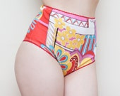 Flower Power High Waist Multicolor Retro Cheeky Panties  S
