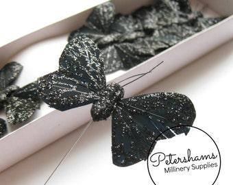 12 Glitter Wired Feather Butterflies 6cm - Black