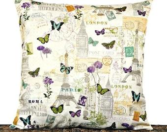 Floral Script Pillow Cover Cushion Paris London Rome New York City Postage Butterflies Decorative 18x18