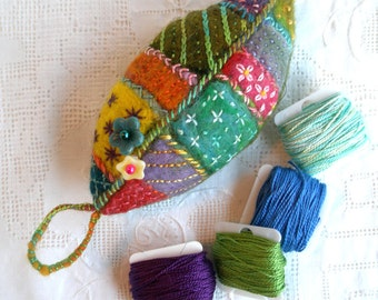 Embroidered Leaf Brooch In hand dyed wool and wool roving. Handmade- Made to Order