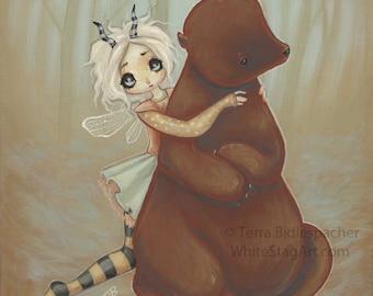 Goldilocks Cute fairy bear fairytale whimsical fantasy fine art print - lowbrow