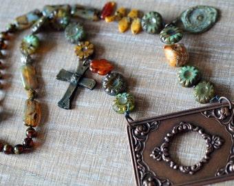 Black Friday Sale - Boho Frame Necklace - Cantina - Cross Necklace - Rustic Chunky Necklace - Primitive Jewelry - Bead Soup Jewelry
