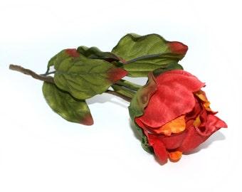 1  Fire Orange Peony Ball Pick - Boutique Quality - Artificial Silk Flower