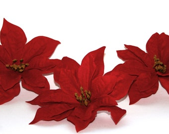 3 Christmas Poinsettia - Silk Flowers, Christmas Flowers
