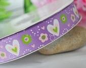 custom listing for Cherylfigs- 1 inch Purple Grosgrain Ribbon Printed Heart Shape and Flower Design 5 yards - 25mm