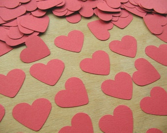 Red Paper Hearts - Table Confetti - Die Cut Paper - Heart Shaped Die Cuts - Wedding Table Confetti -  Small Paper Hearts Valentines