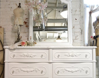Painted Cottage Chic Shabby Romantic French Dresser and Mirror SSDR01