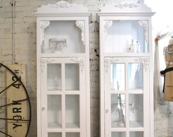 Painted Cottage Chic Shabby Chateau Farmhouse Linen Cabinet CC626