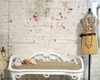 Painted Cottage Chic Shabby French Upholstered Bench